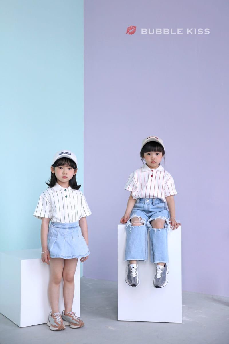 BUBBLE KISS - Korean Children Fashion - #Kfashion4kids - Stripes Collar Tee - 4