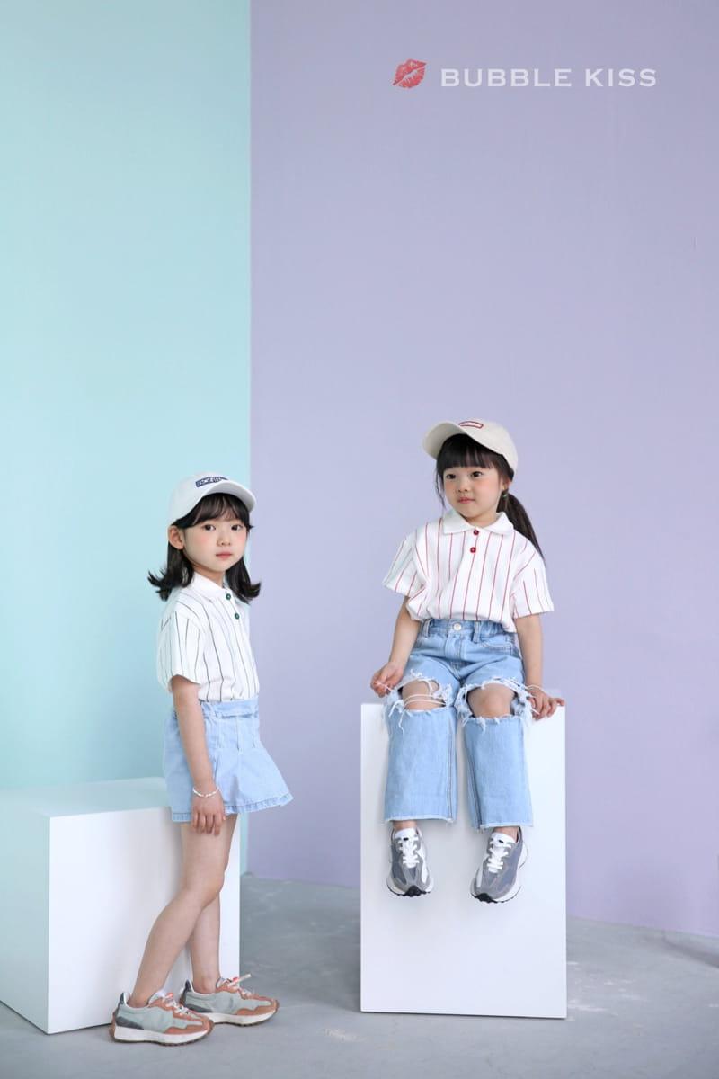 BUBBLE KISS - Korean Children Fashion - #Kfashion4kids - Stripes Collar Tee - 5
