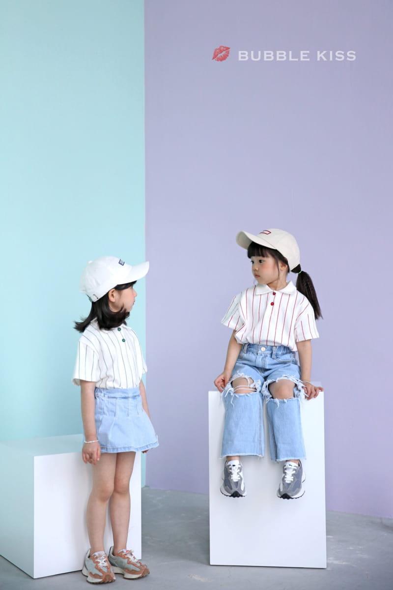 BUBBLE KISS - Korean Children Fashion - #Kfashion4kids - Stripes Collar Tee - 6