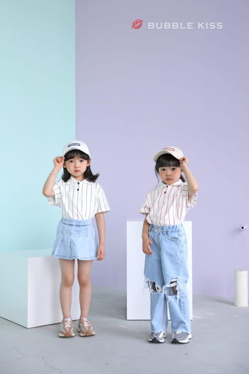 BUBBLE KISS - Korean Children Fashion - #Kfashion4kids - Stripes Collar Tee - 7
