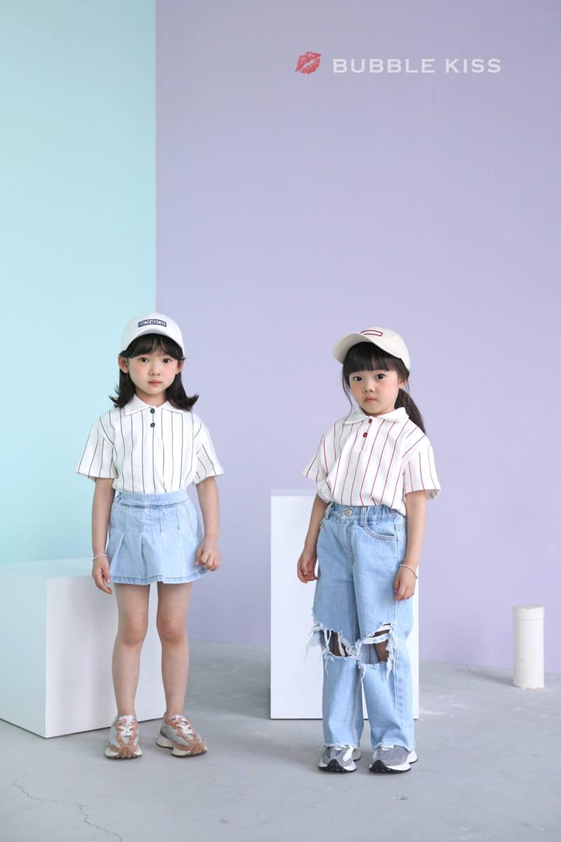 BUBBLE KISS - Korean Children Fashion - #Kfashion4kids - Stripes Collar Tee - 8