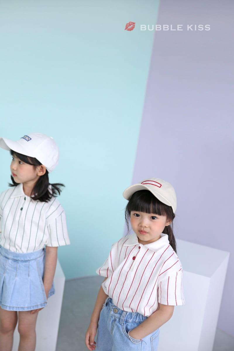BUBBLE KISS - Korean Children Fashion - #Kfashion4kids - Stripes Collar Tee - 9