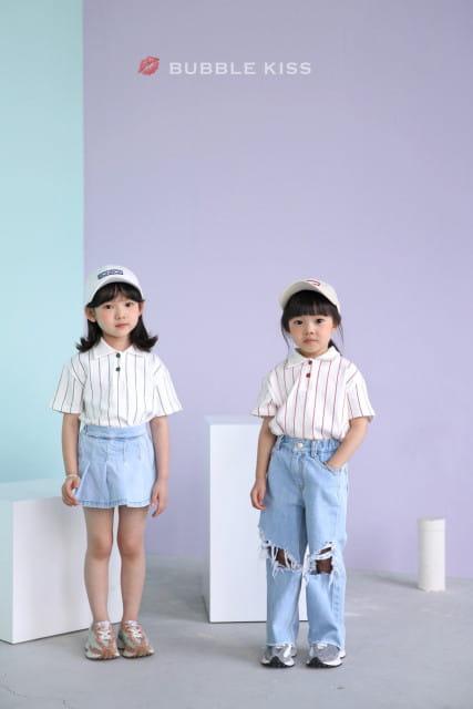 BUBBLE KISS - BRAND - Korean Children Fashion - #Kfashion4kids - Stripes Collar Tee