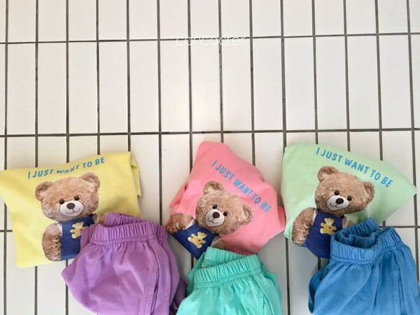 CONCOCTER - Korean Children Fashion - #Kfashion4kids - Bear Short Sleeves Top Bottom Set