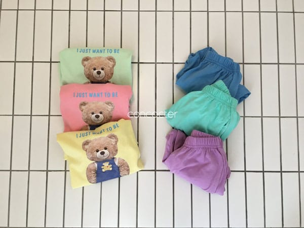 CONCOCTER - Korean Children Fashion - #Kfashion4kids - Bear Short Sleeves Top Bottom Set - 2