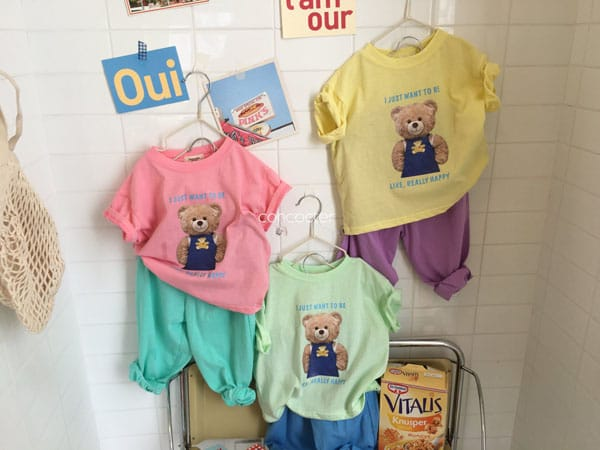 CONCOCTER - Korean Children Fashion - #Kfashion4kids - Bear Short Sleeves Top Bottom Set - 3
