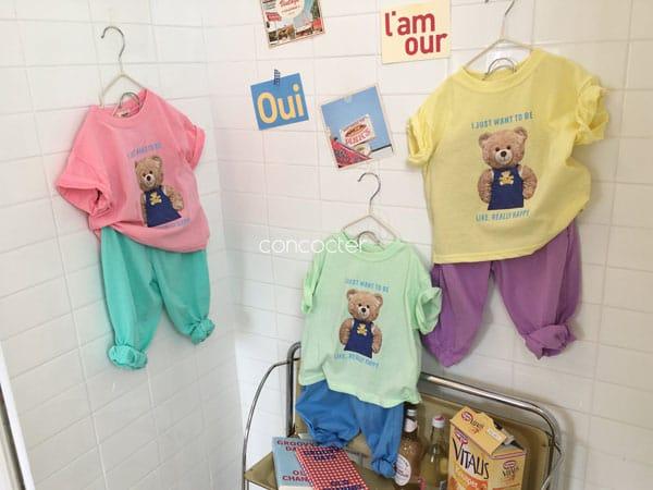 CONCOCTER - Korean Children Fashion - #Kfashion4kids - Bear Short Sleeves Top Bottom Set - 4