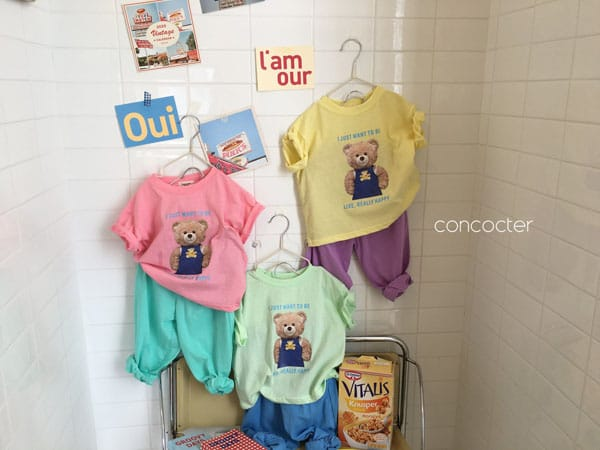 CONCOCTER - Korean Children Fashion - #Kfashion4kids - Bear Short Sleeves Top Bottom Set - 5