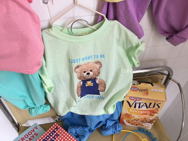 CONCOCTER - Korean Children Fashion - #Kfashion4kids - Bear Short Sleeves Top Bottom Set - 6