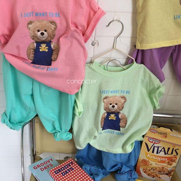 CONCOCTER - BRAND - Korean Children Fashion - #Kfashion4kids - Bear Short Sleeves Top Bottom Set