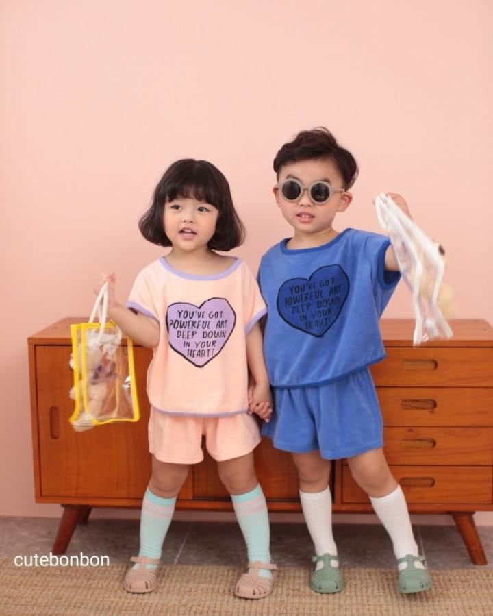 CUTEBONBON - Korean Children Fashion - #Kfashion4kids - Towel Heart Top Bottom Set