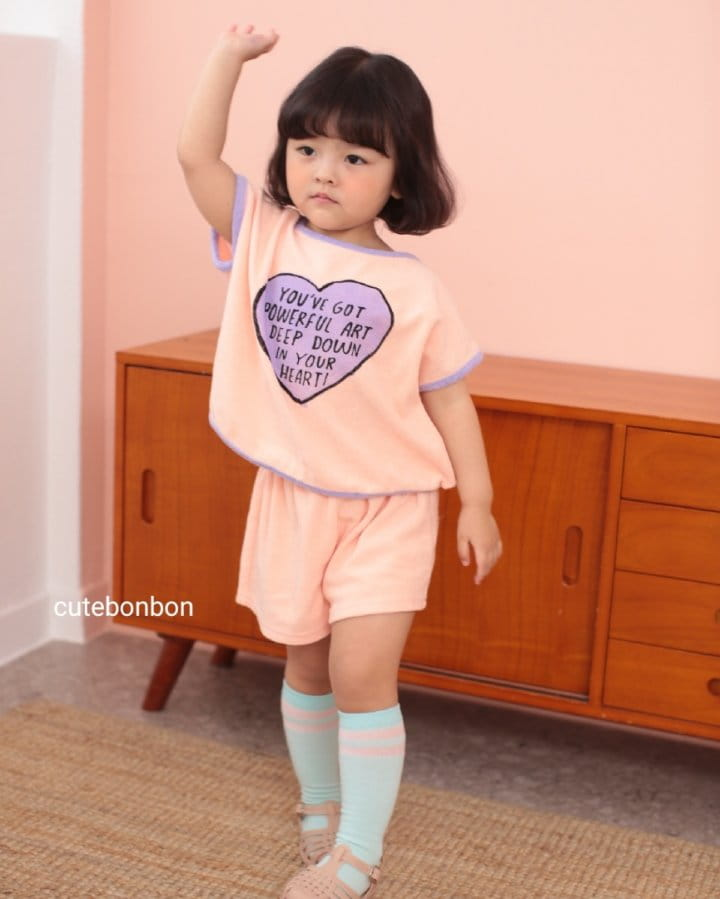 CUTEBONBON - Korean Children Fashion - #Kfashion4kids - Towel Heart Top Bottom Set - 12