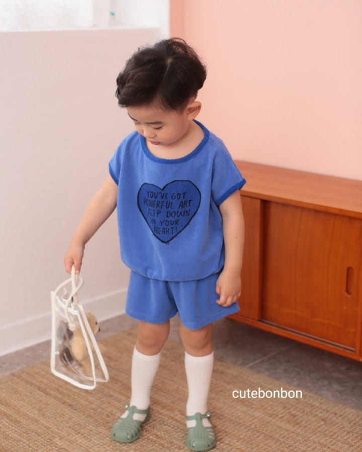 CUTEBONBON - Korean Children Fashion - #Kfashion4kids - Towel Heart Top Bottom Set - 2