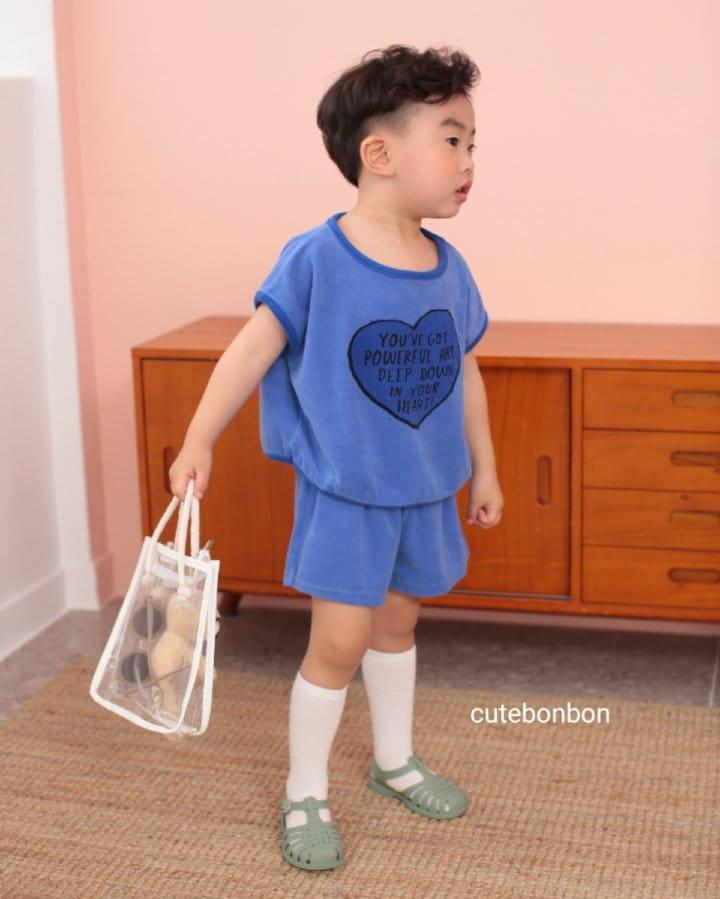 CUTEBONBON - Korean Children Fashion - #Kfashion4kids - Towel Heart Top Bottom Set - 3