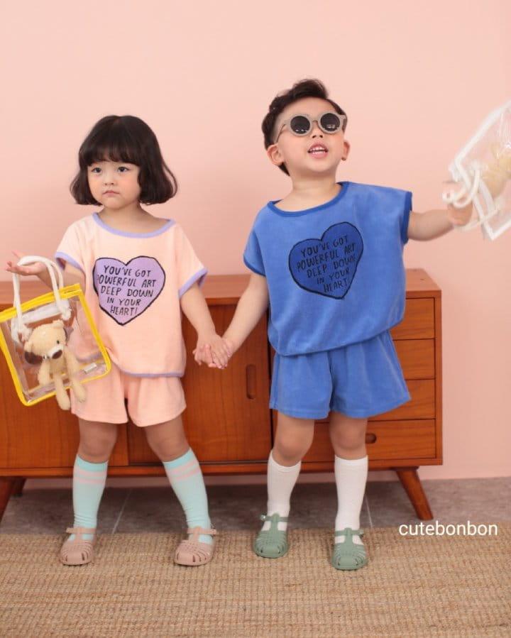 CUTEBONBON - Korean Children Fashion - #Kfashion4kids - Towel Heart Top Bottom Set - 5