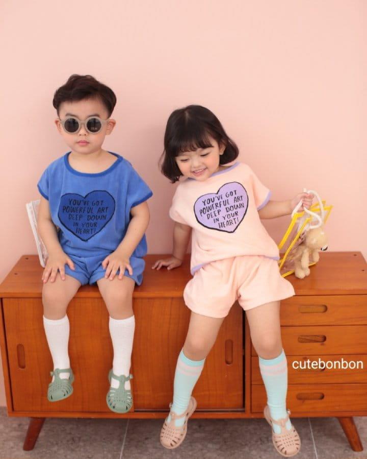 CUTEBONBON - Korean Children Fashion - #Kfashion4kids - Towel Heart Top Bottom Set - 7