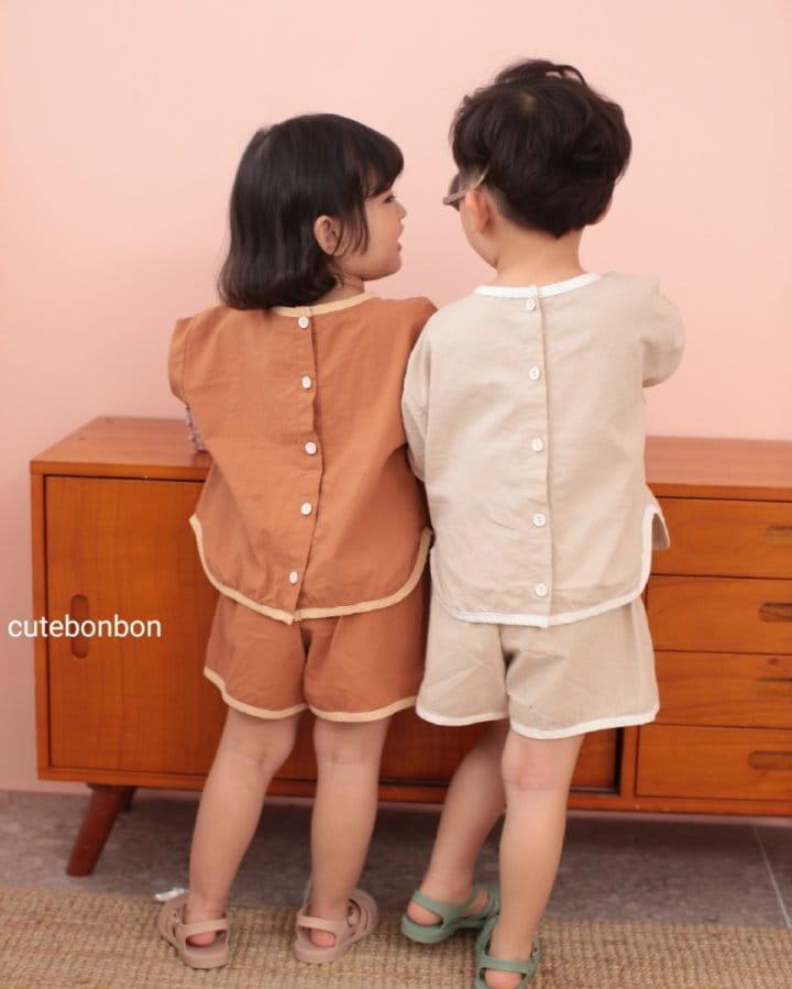 CUTEBONBON - Korean Children Fashion - #Kfashion4kids - Linen Rappa Top Bottom Set - 12