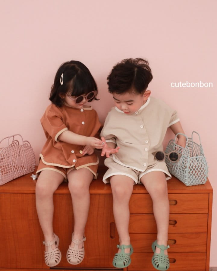 CUTEBONBON - Korean Children Fashion - #Kfashion4kids - Linen Rappa Top Bottom Set - 2