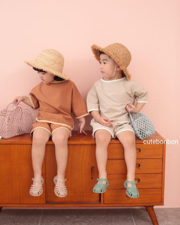 CUTEBONBON - Korean Children Fashion - #Kfashion4kids - Linen Rappa Top Bottom Set - 6