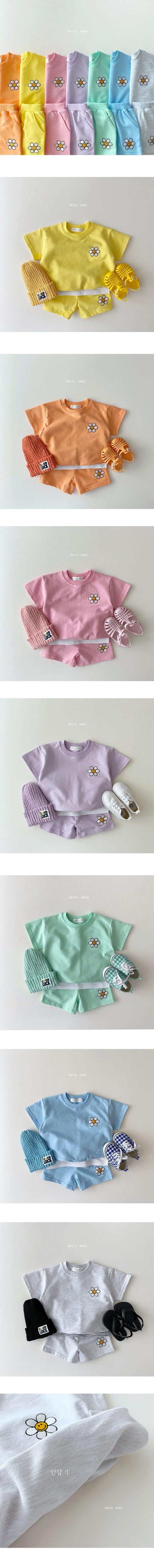 DAILY BEBE - Korean Children Fashion - #Kfashion4kids - Summer Flower Top Bottom Set - 2