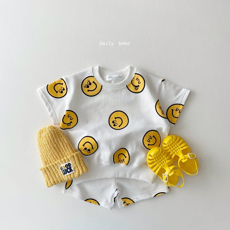 DAILY BEBE - Korean Children Fashion - #Kfashion4kids - Smile Top Bottom Set - 12