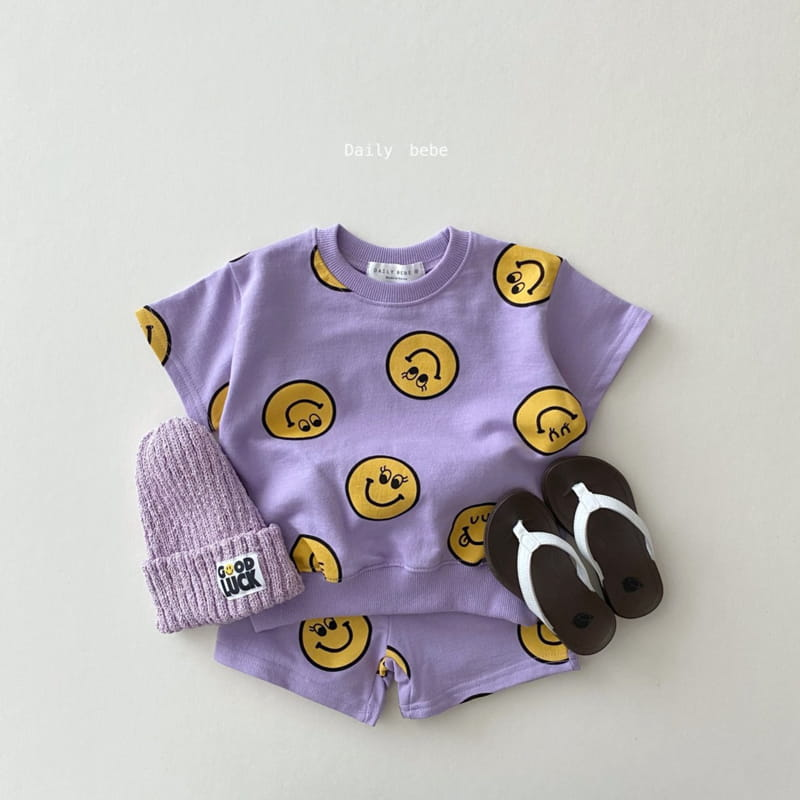DAILY BEBE - Korean Children Fashion - #Kfashion4kids - Smile Top Bottom Set - 2