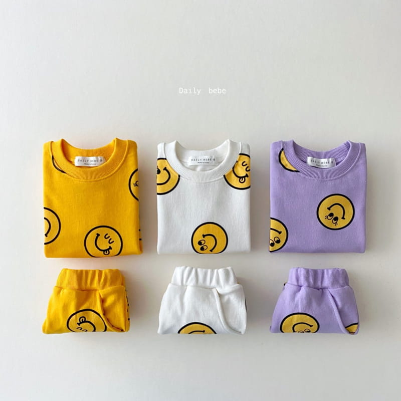 DAILY BEBE - Korean Children Fashion - #Kfashion4kids - Smile Top Bottom Set - 9