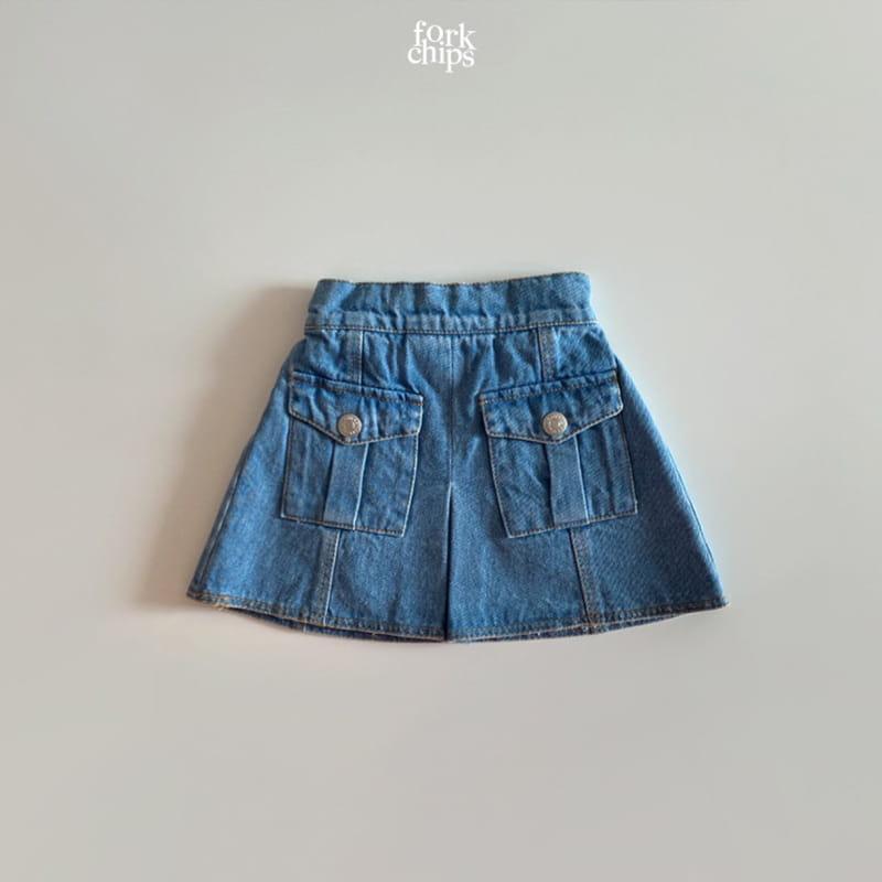 FORK CHIPS - Korean Children Fashion - #Kfashion4kids - Vivi Denim Skirt