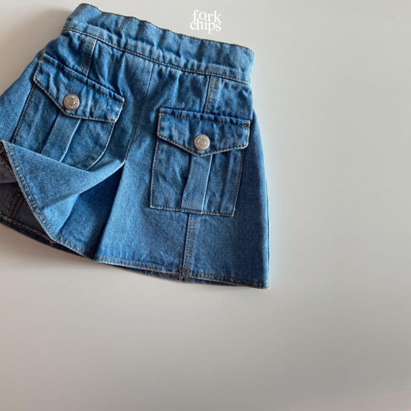 FORK CHIPS - Korean Children Fashion - #Kfashion4kids - Vivi Denim Skirt - 2