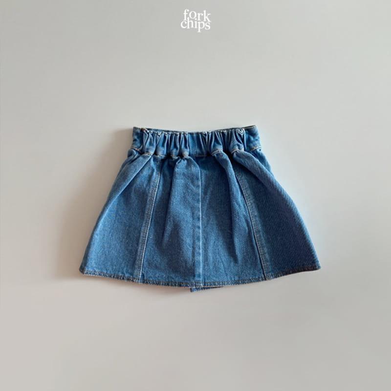 FORK CHIPS - Korean Children Fashion - #Kfashion4kids - Vivi Denim Skirt - 3