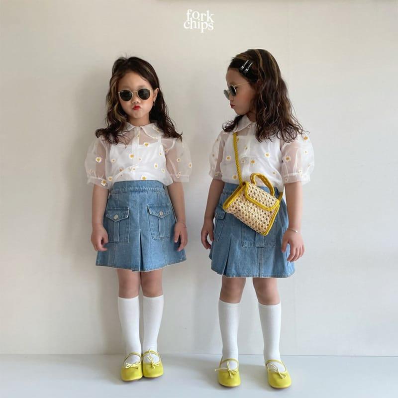 FORK CHIPS - Korean Children Fashion - #Kfashion4kids - Vivi Denim Skirt - 5