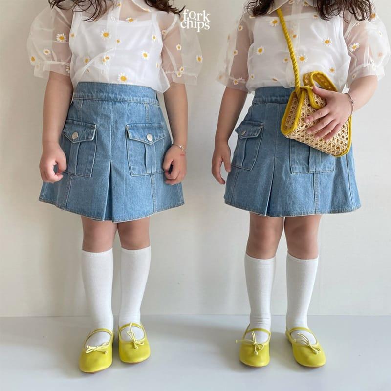 FORK CHIPS - Korean Children Fashion - #Kfashion4kids - Vivi Denim Skirt - 6