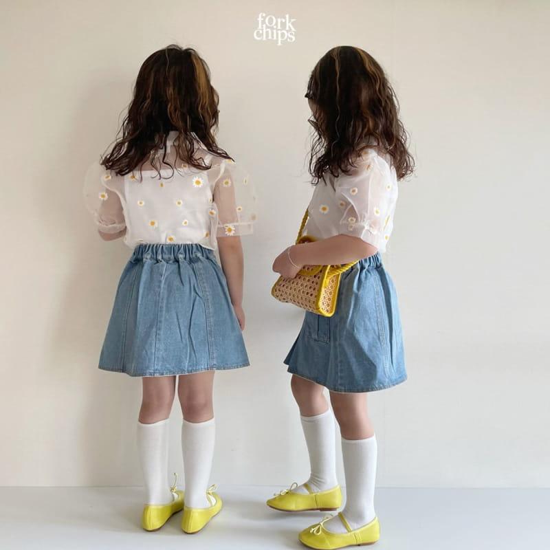 FORK CHIPS - Korean Children Fashion - #Kfashion4kids - Vivi Denim Skirt - 7