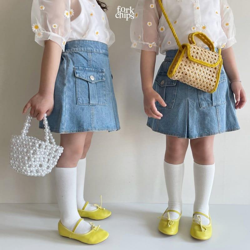 FORK CHIPS - Korean Children Fashion - #Kfashion4kids - Vivi Denim Skirt - 8