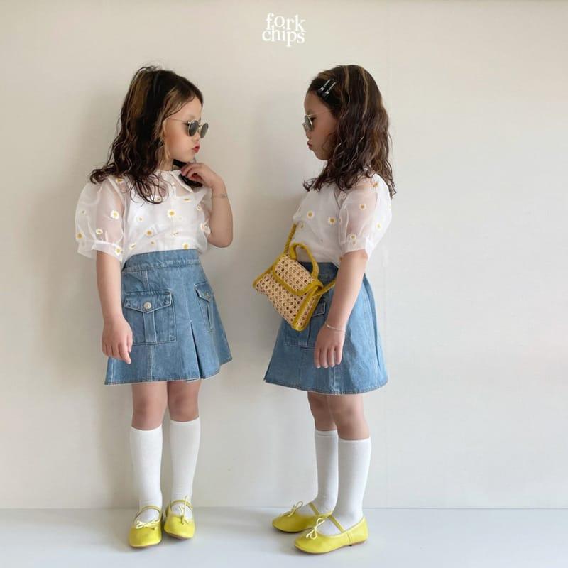 FORK CHIPS - Korean Children Fashion - #Kfashion4kids - Vivi Denim Skirt - 9
