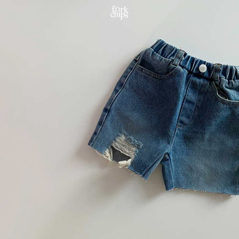 FORK CHIPS - Korean Children Fashion - #Kfashion4kids - Pony Denim Shorts - 3