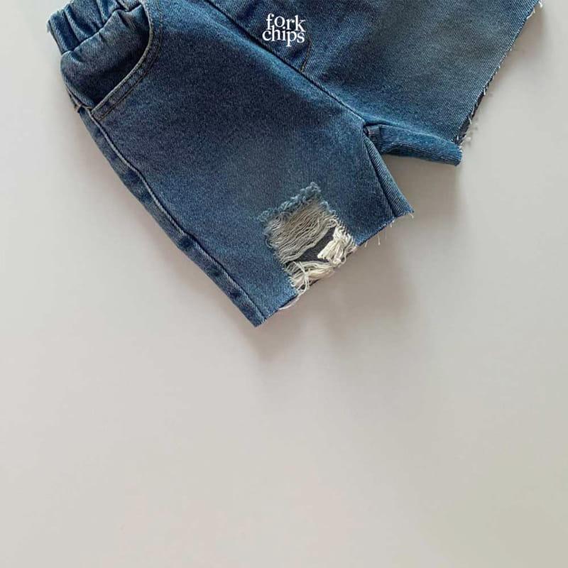FORK CHIPS - Korean Children Fashion - #Kfashion4kids - Pony Denim Shorts - 4