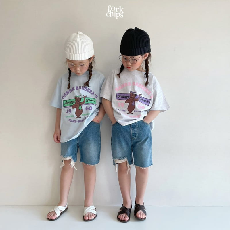 FORK CHIPS - Korean Children Fashion - #Kfashion4kids - Pony Denim Shorts - 6