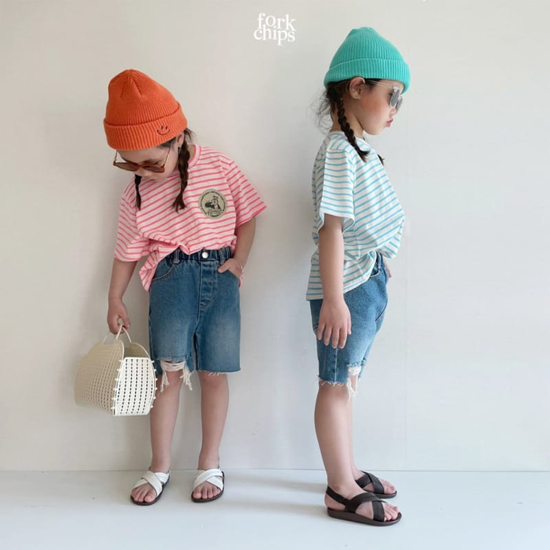 FORK CHIPS - Korean Children Fashion - #Kfashion4kids - Pony Denim Shorts - 7