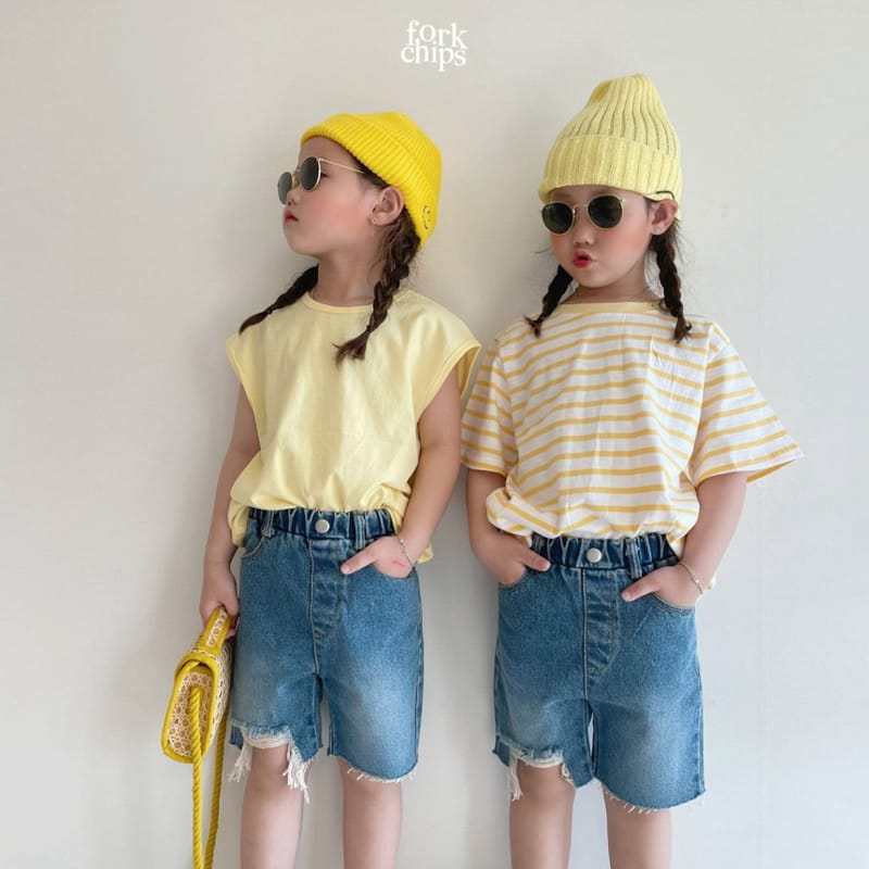 FORK CHIPS - Korean Children Fashion - #Kfashion4kids - Pony Denim Shorts - 8