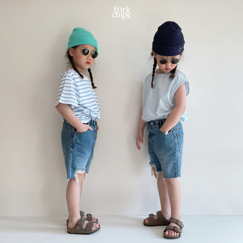 FORK CHIPS - Korean Children Fashion - #Kfashion4kids - Pony Denim Shorts - 9