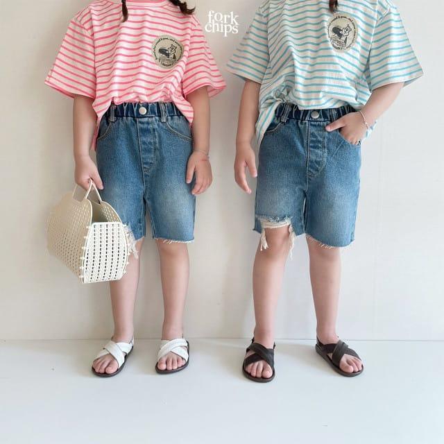 FORK CHIPS - BRAND - Korean Children Fashion - #Kfashion4kids - Pony Denim Shorts