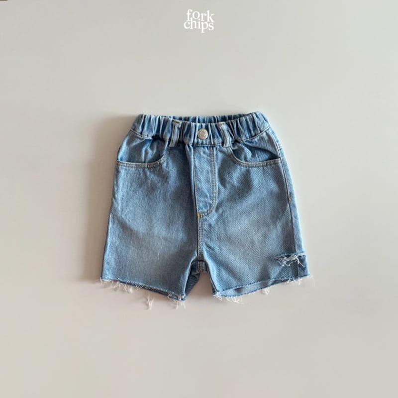 FORK CHIPS - Korean Children Fashion - #Kfashion4kids - Somrthing Denim Shorts
