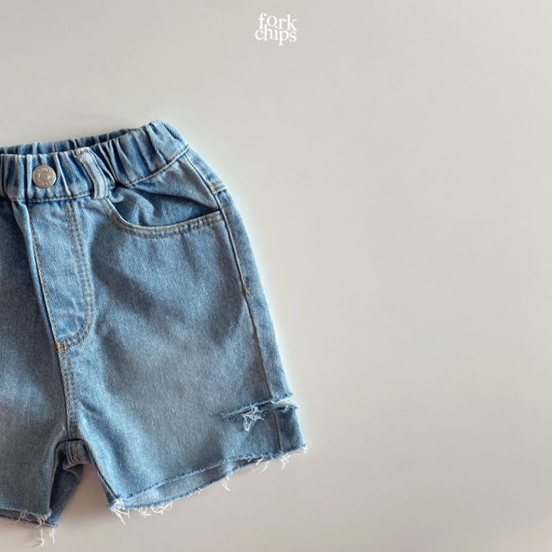 FORK CHIPS - Korean Children Fashion - #Kfashion4kids - Somrthing Denim Shorts - 2