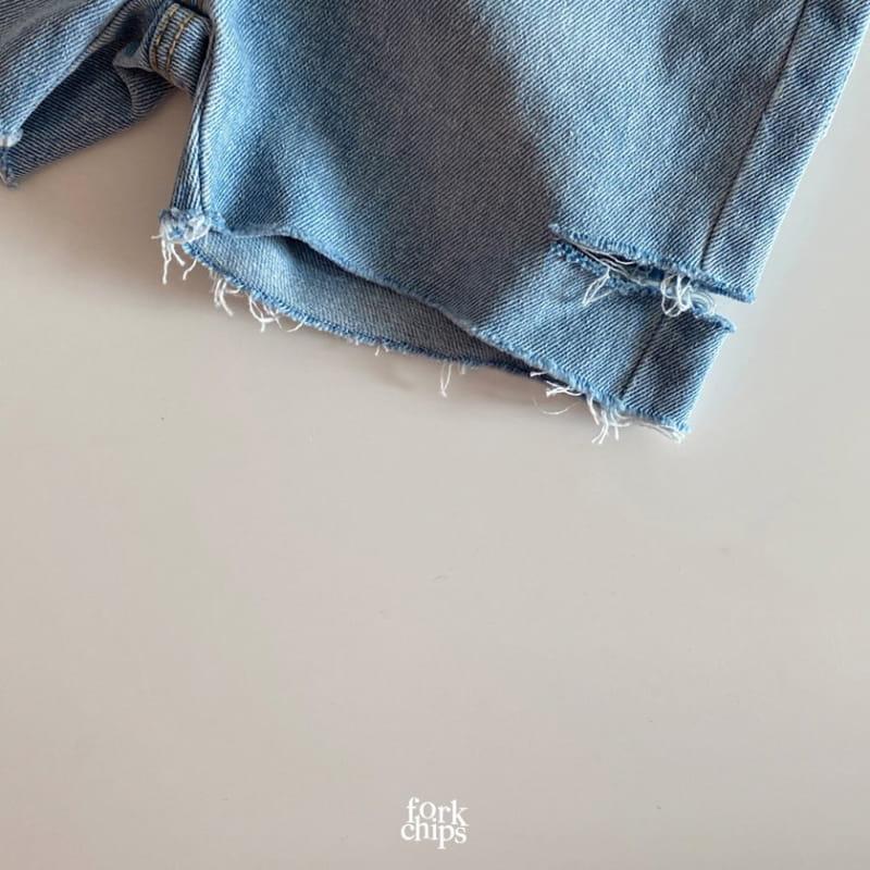 FORK CHIPS - Korean Children Fashion - #Kfashion4kids - Somrthing Denim Shorts - 3