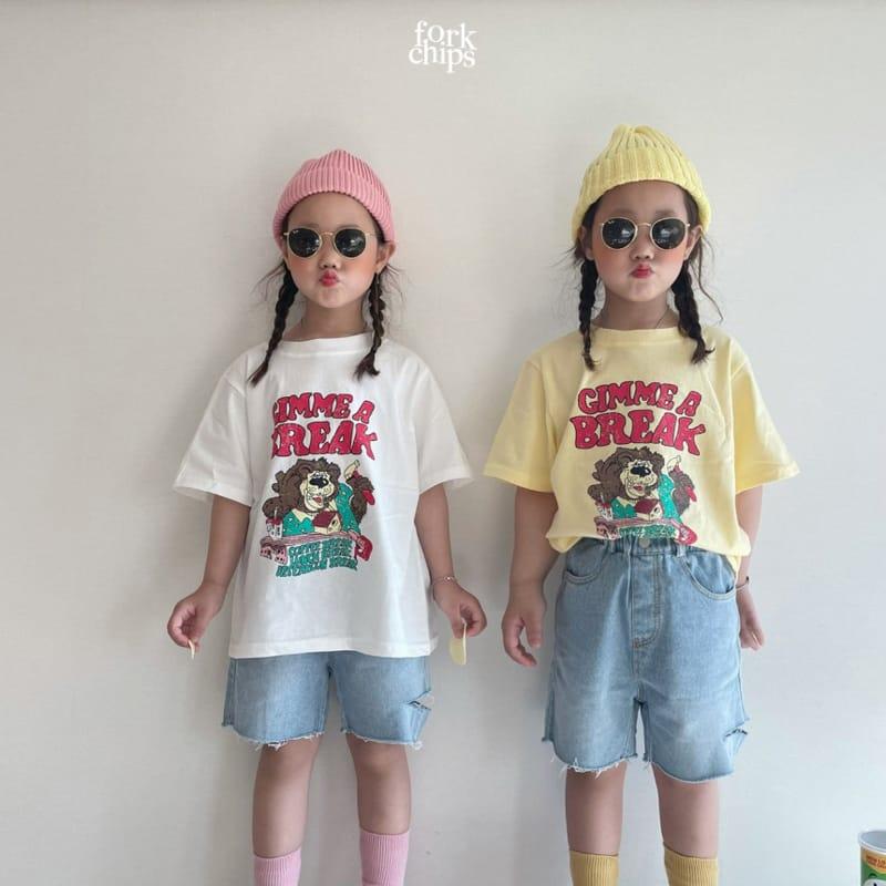 FORK CHIPS - Korean Children Fashion - #Kfashion4kids - Somrthing Denim Shorts - 6