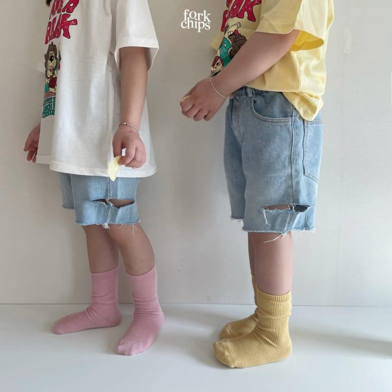 FORK CHIPS - Korean Children Fashion - #Kfashion4kids - Somrthing Denim Shorts - 7