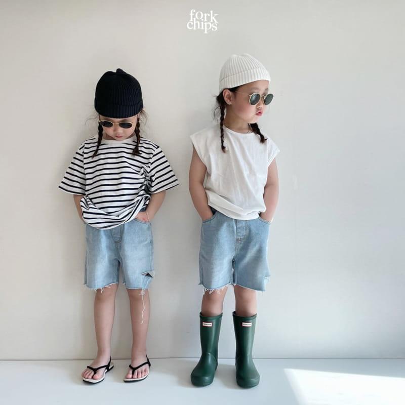 FORK CHIPS - Korean Children Fashion - #Kfashion4kids - Somrthing Denim Shorts - 8