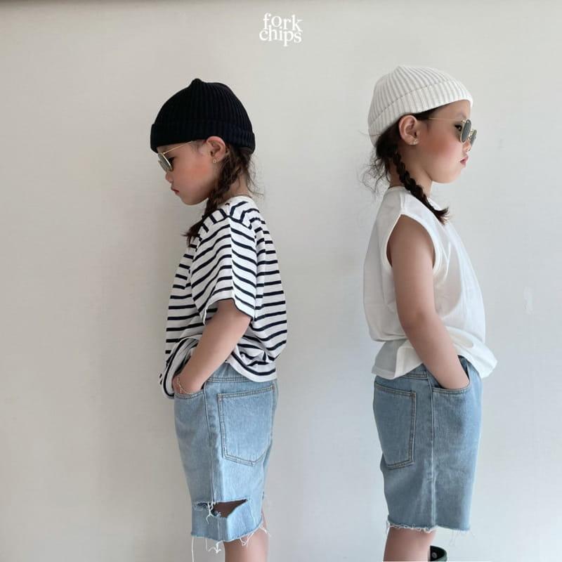 FORK CHIPS - Korean Children Fashion - #Kfashion4kids - Somrthing Denim Shorts - 9