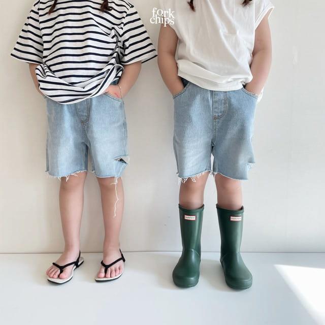 FORK CHIPS - BRAND - Korean Children Fashion - #Kfashion4kids - Somrthing Denim Shorts